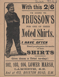Advert for Trusson's shirts